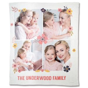 Fleece Floral Personalized Photo Throw