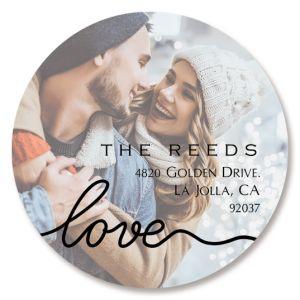 Love Black Caption Round Photo Personalized Address Labels