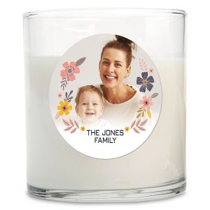 Floral Personalized Photo Candle