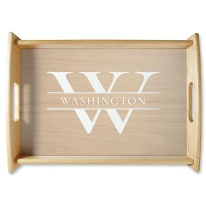 Personalized Initial & Last Name Natural Wood Serving Tray