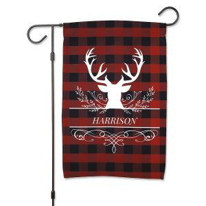Buffalo Plaid Personalized Garden Flag