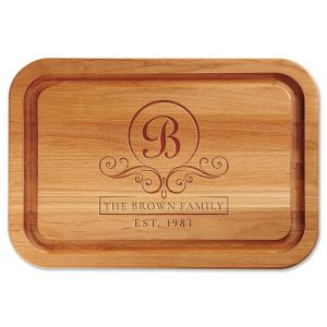 Flourish Scroll Engraved Wood Cutting Board