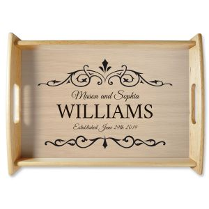 Established Natural Wood Personalized Serving Tray