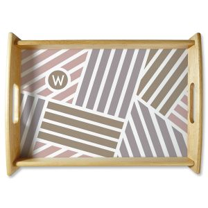 Initialed Stripe Natural Wood Personalized Serving Tray