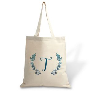 Personalized Initial Wreath Canvas Tote
