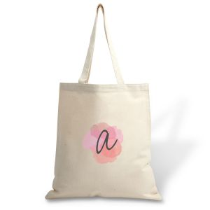 Personalized Watercolor Initial Canvas Tote
