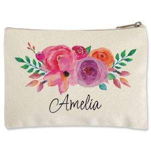 Personalized Floral Name Zippered Pouch