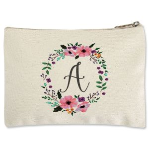 Personalized Initial in Wreath Zippered Pouch