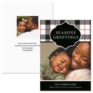 Buffalo Check Personalized Photo Christmas Cards