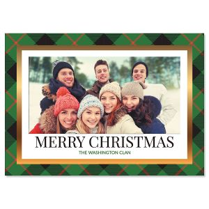 Green Buffalo Check Personalized Photo Christmas Cards