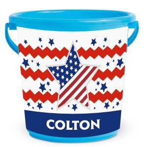 Patriotic Kids Personalized Beach Bucket
