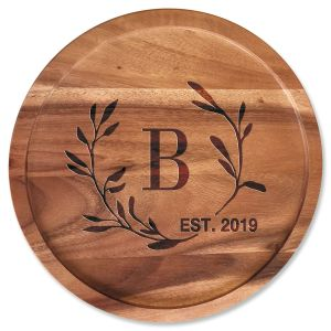 Laurel Initial Established Personalized Acacia Wood Lazy Susan