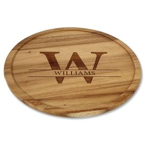 Initial Last Name Personalized Acacia Wood Lazy Susan