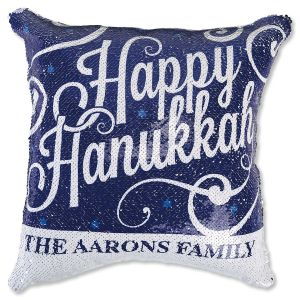 "Sequined ""Happy Hanukkah"" Personalized Pillow"