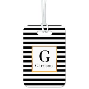 Striped with Gold Personalized Luggage Tag