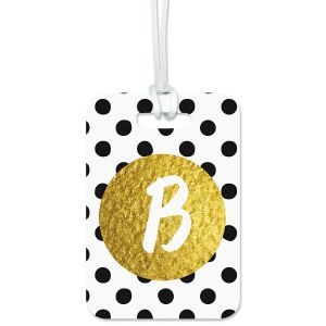 Polka Gold Personalized Luggage Tag