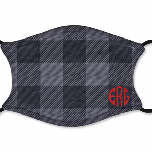 Adult Personalized Black and Grey Plaid Mask