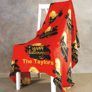 Velvet Touch Haunted House Personalized Throw