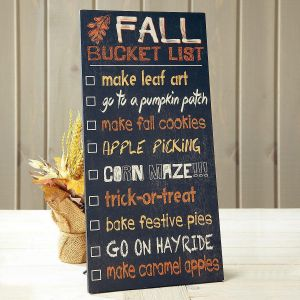 Fall Bucket List Wooden Plaque