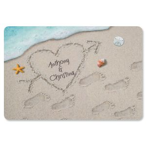 Heart in the Sand Personalized Doormat