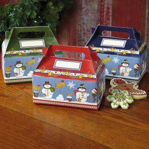 Snowmen in Squares Treat Boxes