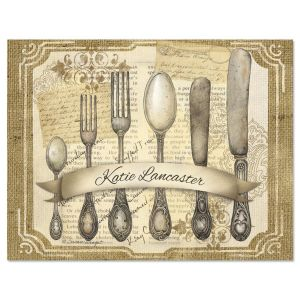 Personalized Silverware Note Cards