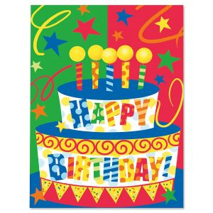 Bright Birthday Cake Birthday Cards