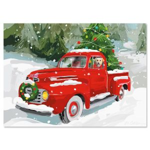 Red Truck Nonpersonalized Christmas Cards - Set of 18