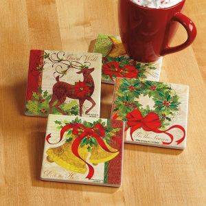 Deck the Halls Stone Coasters