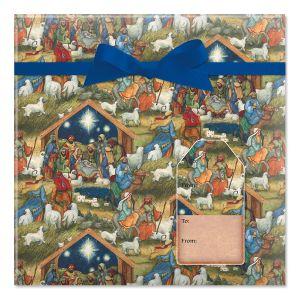 Nativity Jumbo Rolled Gift Wrap