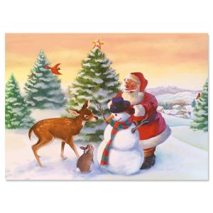 Santa's Woodland Friends Christmas Cards