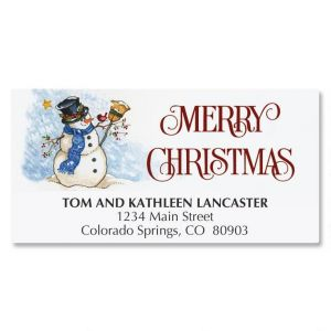 Snowman & Sweet Bird Deluxe Address Labels
