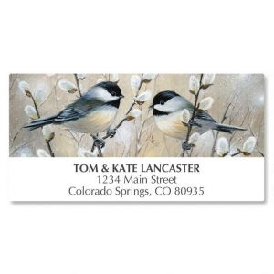 Chickadees and Pussy Willow Deluxe Address Labels