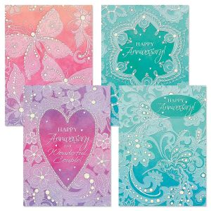 Watercolor Lace Anniversary Cards and Seals