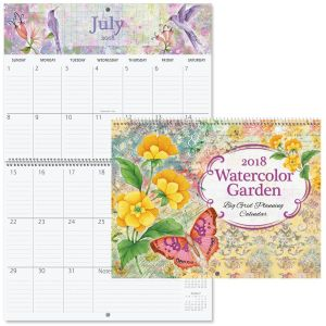 2018 Watercolor Garden Big Grid Planning Calendar