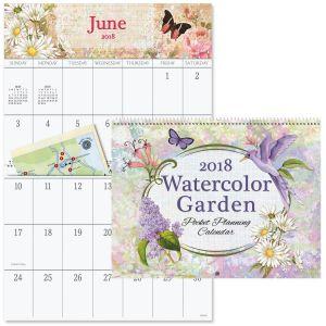 2018 Watercolor Garden Big Grid Calendar with Pockets