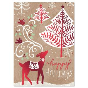Woods in Winter Nonpersonalized Deluxe Christmas Cards - Set of 14