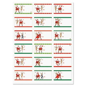 Dancing Santa To/From Stickers