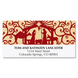 Red and White Manger Deluxe Address Labels
