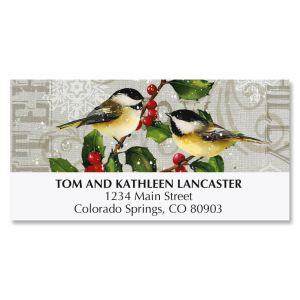 Chickadees and Holly Deluxe Address Labels