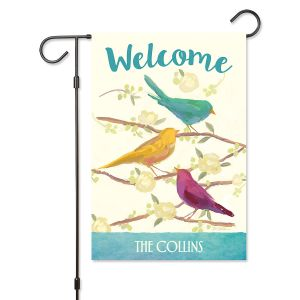 Flocked Together Personalized Garden Flag