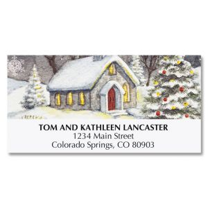 Snowy Church Deluxe Address Labels