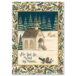 Peaceful Pinery Religious Christmas Cards