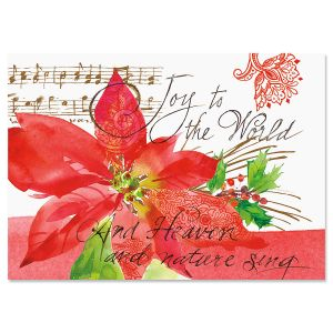 Poinsettia Melody Christmas Cards