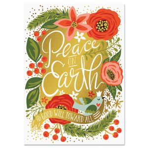 Peace on Earth Deluxe Foil Christmas Cards
