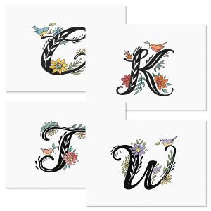 Personalized Floral Initial Note Cards