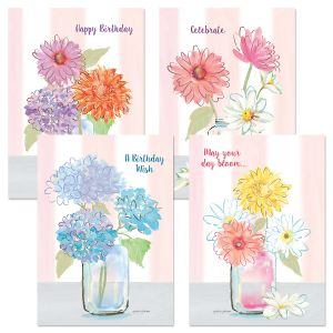 Flower Jars Birthday Cards and Seals