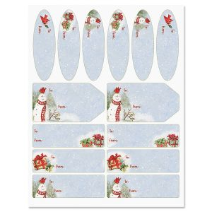 Snowy Cardinals Christmas Gift Labels