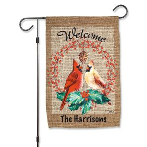 Cardinal Pair Personalized Garden Flag