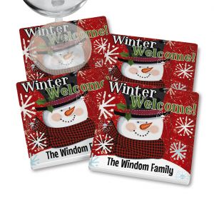 Top Hat Snowman Personalized Coasters